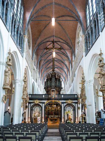 Interior of Church of our Lady, Onze-Lieve-Vrouwekerk, in Bruges, West Flanders, Belgium
