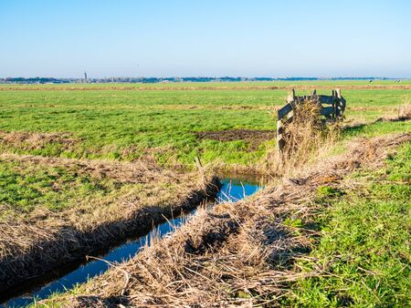 Dutch polder landscape with ditch, gate to meadows and farmland in polder Eempolder near Eemnes, Netherlands Stockfoto