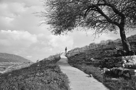 A Black and White photo. A man stands at the end of a path. Imagens