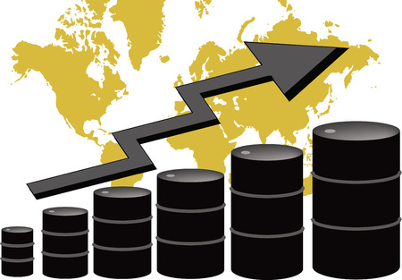The price of oil is going up. A chart made of oil barrels. Ilustração