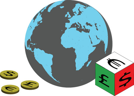 Global Currencies, with globe, coins and dice with currency symbols.