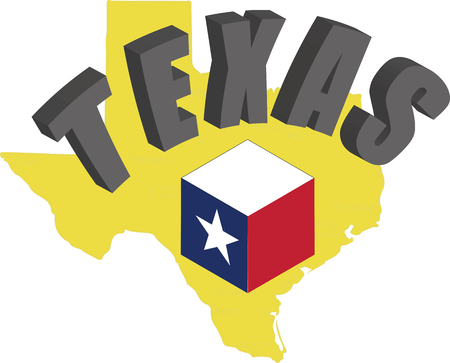 Texas lettering with flag vector illustration design.