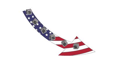 The American Dollar Is Going Down Ilustração