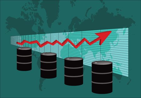 A Perspective Graph Of Oil Price, With Oil Barrels In Front And World Map On The Background