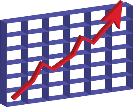 A 3D Chart Of Stock Going Up.
