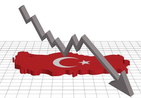 A map and a flag of Turkey on a grid, with an arrow going down. Ilustração