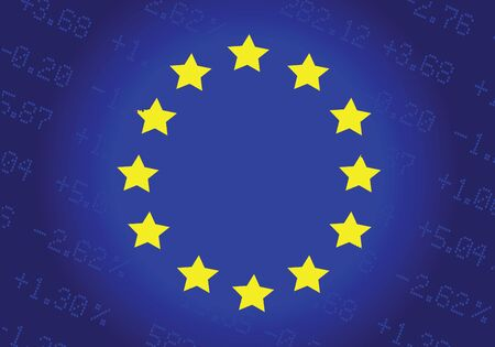 The European Union Flag, With Stock Prices On The Background.