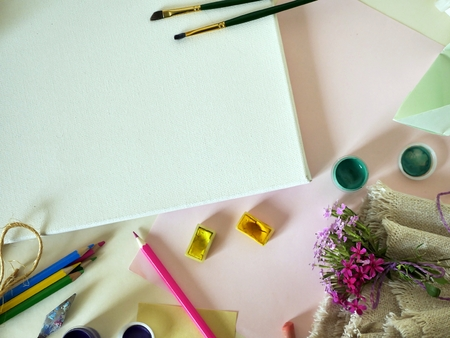 Still-life from objects for drawing and creativity on a light background Stock Photo