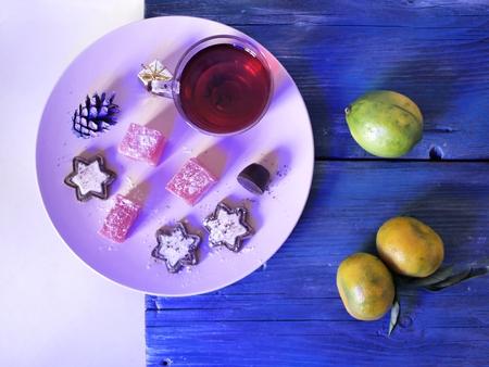 New Year's Decor, tangerines, tea