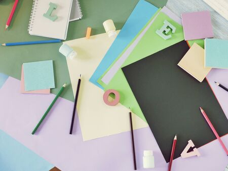 colored paper, letters, stationery on the table