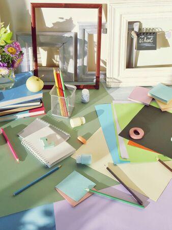 Books, flowers, apple, stationery, frames