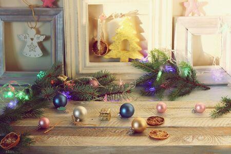 Decor, Christmas tree with illuminations, New Years toys