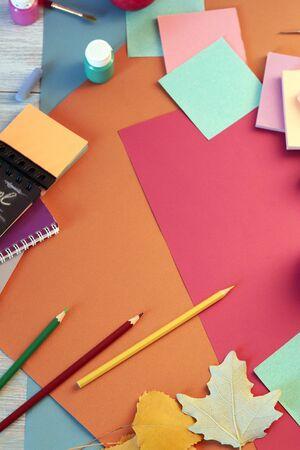 School stationery, colored paper, autumn season