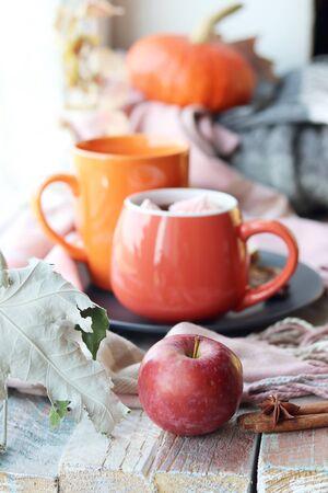 Two cups of coffee, meringues, pumpkins, apples, leaves, plaid