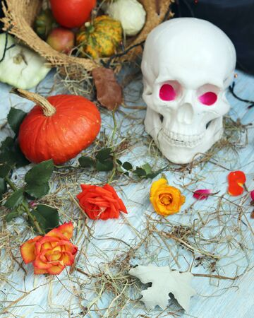 Halloween composition made of imitation skull, pumpkins, roses Banque d'images - 132120283
