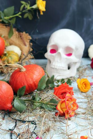 Halloween composition made of imitation skull, pumpkins, roses Banque d'images - 132120238