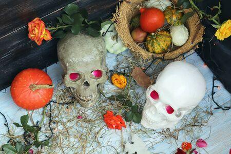 Halloween composition made of imitation skull, pumpkins, roses Banque d'images - 132121387