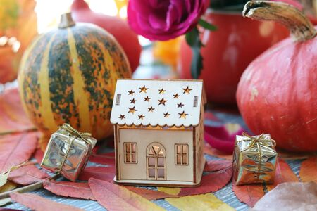 pumpkins, fresh roses, a toy house, leaves on the windowsill, Thanksgiving