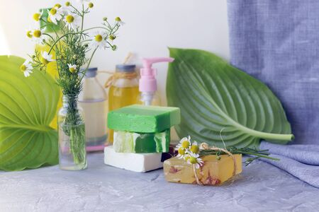 Soap, antiseptic, medicinal chamomile flowers, aromatic oil for hygienic procedures, natural cosmetics, home relaxation