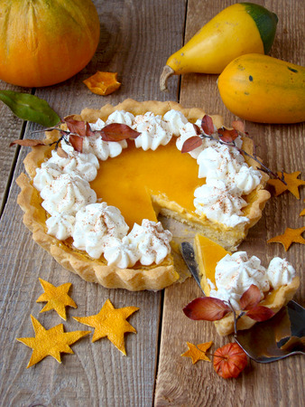 trad: pumpkin pie with whipped cream