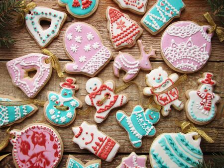 icing: gingerbread cookies with colored icing Stock Photo