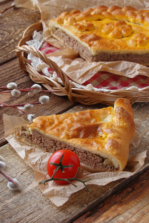 offal: pie with chicken livers, and liver
