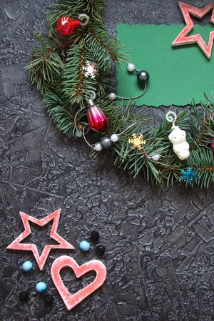 Christmas decorations on a dark background with Christmas toys Stock Photo