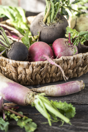 root vegetables turnips, radishes, beets with the Batwa on a wooden background in rustic style