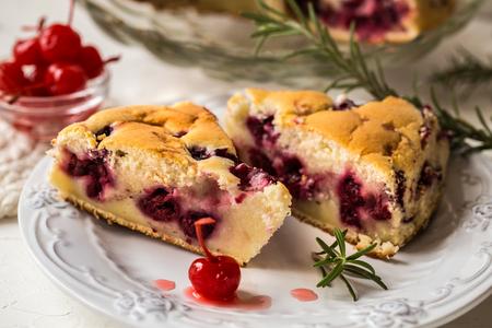 clafoutis tart with fresh cherries, French dish