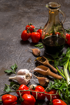 Tomatoes, green onions, salt, spices, herbs for cooking on a dark background 版權商用圖片