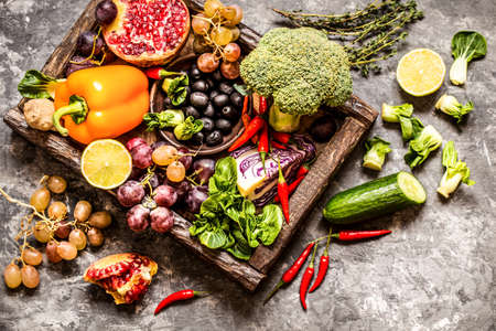 vegetables and fruits, herbs - the ingredients for cooking, healthy lifestyle 版權商用圖片