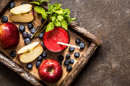 Smoothie of apples and blueberries, mint, healthy eating, healthy lifestyle, useful capitec