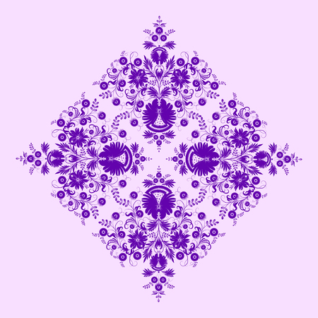 Filigree floral pattern on a lilac background.  Vector