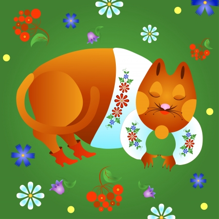 Fabulous red cat in a white shirt and boots is sleeping on the grass. Vector