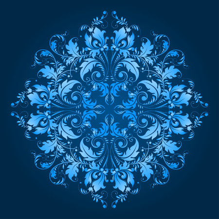 Filigree floral pattern on a blue background  Vector