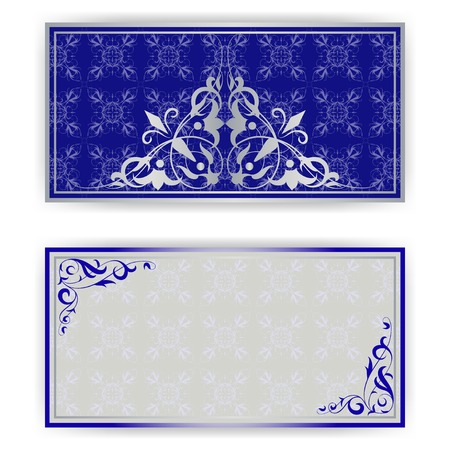 royal blue: Template for greeting card, invitation on blue
