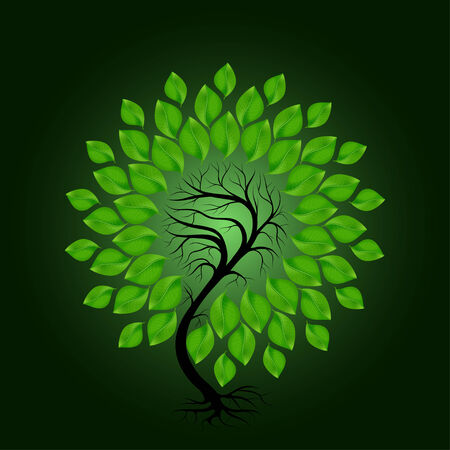 leafage: Tree with green leafage, isolated on dark green background, vector Illustration
