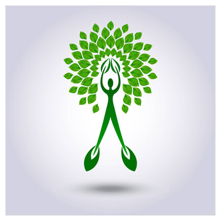 leafage: Vector tree with green leafage on a light gray background Illustration