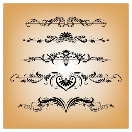 Vector set of patterns for design, filigree ornaments Vector