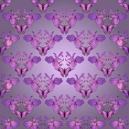 Vector filigree damask seamless with butterfly. Royal wallpaper. Vector