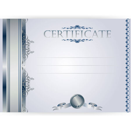 Vector silver certificate with a laurel wreath on a light  background Vector