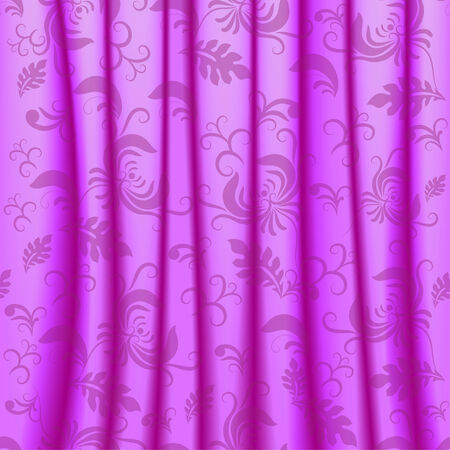 Vector curtain with pleats and damask ornaments Vector