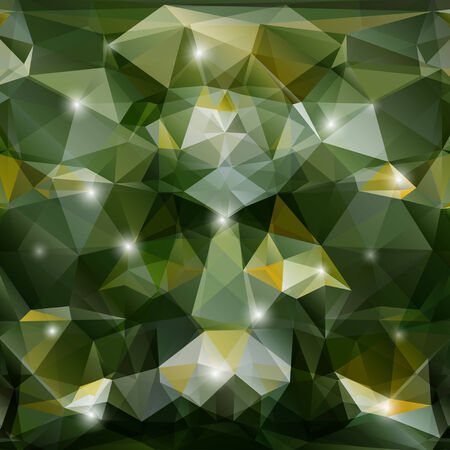 polyhedral: Abstract geometric background with green polygons. Illustration