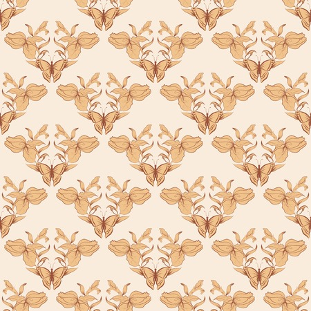 filigree seamless with butterfly. Royal wallpaper. Vector