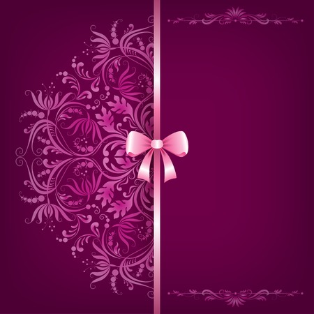 Elegant background and ornament with bow, place for text Vector