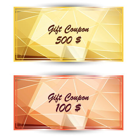 polyhedral: Vector set gold gift coupon, gift card with on polygonal background