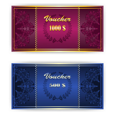 Voucher, Gift certificate, Coupon template with lace floral border. Vector