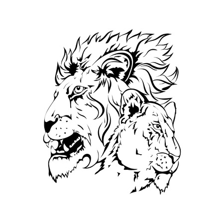 formidable: Vector silhouette of lions for design, tattoo