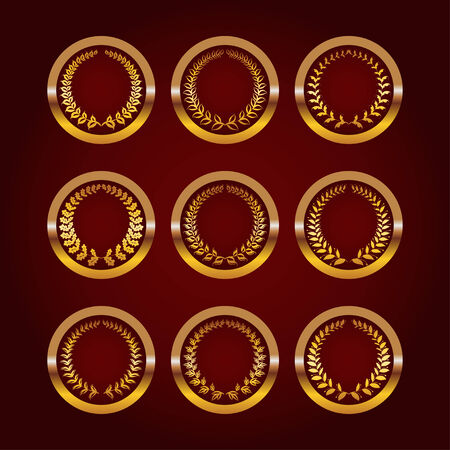 antiquities: Set of luxury gold labels, medals, stickers with laurel wreath on dark background for design.