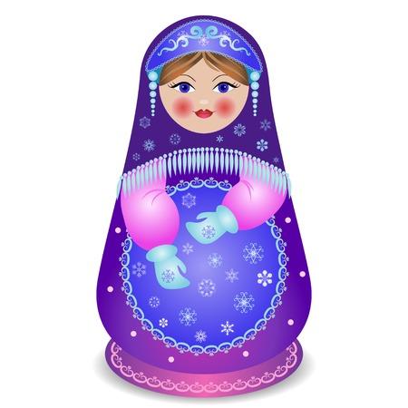 Russian traditional matryoshka folk doll Illustration